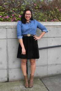 4.15.13-blk-suede-skirt-chambray-shirt-ram-belt-Corso-Como-moto-boots-1
