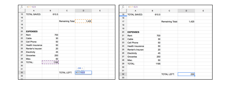 making a budget spreadsheet