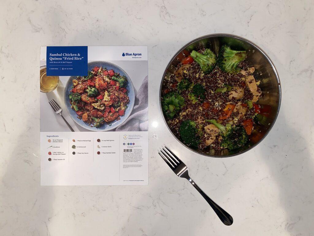 "Blue Apron's Sambal Chicken & Quinoa ""Fried Rice;"" photo courtesy of TFD's Marketing Director, Rachel Steinman"